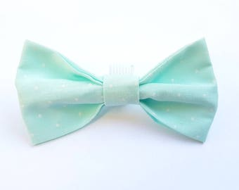 Mint green and white spot dog collar bow tie