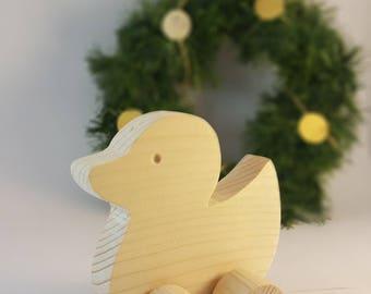 Wooden Toy Duck - Toy Duck - Rolling duck - Baby toy duck - Wooden Duckling