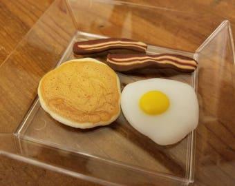 HANDMADE American Girl Size 2 Bacon Slices, Egg, Pancake, and Plate. (SKU F15)