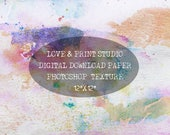 Photoshop pastel texture 12x12 digital download Watercolor journal page Scrapbooking sheet Stains watercolor Photoshop overlays Commercial