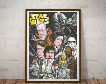 Star Wars, A New Hope A3, Eco Friendly Cult Caricature poster/print