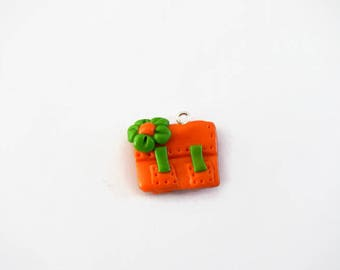 orange charm fimo school satchel