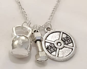 25lbs Weight Plate, Dumbbell, Kettlebell Fitness Necklace, Fitness Jewelry, Workout, Gym, Gift Idea, Weightlifting, Fitness Charms, Crossfit