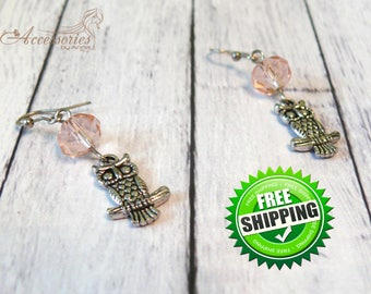 Blush pink Owl crystal earrings Metal silver charm earrings Animal charm Owl accessories Fashion Unique jewelry Wish earrings Summer jewelry