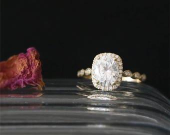 8*6mm Oval Cut Forever One Moissanite Ring Art Deco Ring Half Eternity Diamonds Ring Bridal Ring 14K Yellow Gold Moissanite Engagement Ring