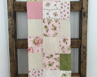 Floral crib bedding, Cottage baby bedding,  Shabby chic baby blanket,   Floral baby blanket,  Pink, white and green baby quilt