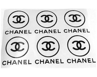 "X6 Chanel round  1,5""- 3 ""designer inspired  stickers /  decal  stickers logo  autocollant"