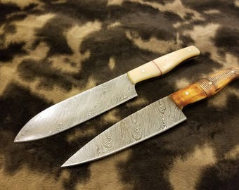 "Chef Knife Flat Handle  Damascus Steel Blade( Set of two )  ""12"" BOX-34"