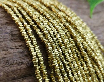 Handmade Brass, Tiny Square Chip Nugget Freeform Plain Beads,approx. 1.8x2mm.,12 inch long,approx:340 pcs.