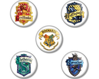 "Harry Potter Houses Crests Hogwarts 25mm / 1"" (1 inch) Pin Button Badges - Choose from Gryffindor Hufflepuff Slytherin Ravenclaw or Hogwarts"