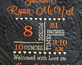 Personalized Baby Birth Announcement Blanket, Personalized Baby Quilt,Keepsake  Embroidered Birth Annoucement Blanket,