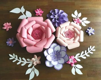 Pink and purple flower set