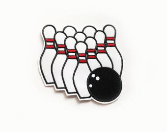 1x large bowling set PATCH sport activity game custom your jacket, clothes, hat, bag with an Iron On Embroidered Applique