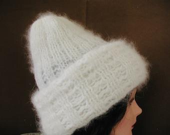 White Angora Rabbit Hat...White Angora Hat