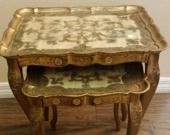 Vintage Plastic Ornate Table- Made in Italy Florence