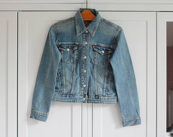 LEVI'S Denim Jacket Vintage Oldschool Blue 1980s Women Outerwear High fashion retro clothing / Extra Large size