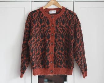 Vintage Sweater Thick Bolero Brown Orange Leopard Pattern Top Longsleeve Women Girly Winter Autumn Cardigan / Large size