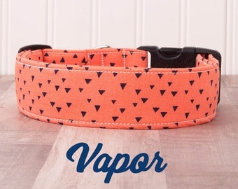 "Orange and Blue Triangle Geometric Boho Dog Collar ""Vapor"""