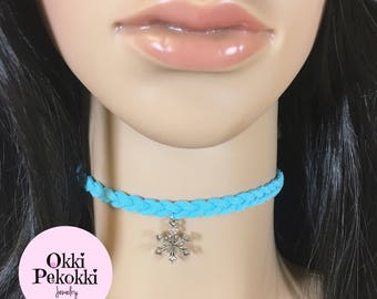 Snowflake Braided Blue Choker Necklace