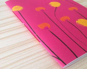 Notebook fuchsia flowers and hand painted overhead showers, striped pages