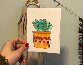 Potted Succulent Watercolor Card