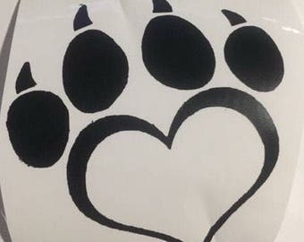 3 inch paw print heart vinyl decal
