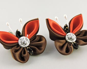 Kanzashi butterfly clip. Set of 2 clips. Girls clips. Free shipping