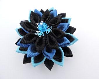 Kanzashi fabric flower brooch.Sky Blue,Black,Smoke Blue brooch.