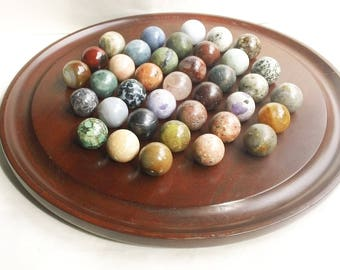 """Large 14.5"""" Vintage Solitaire Game With 37 Semi Precious Stone Marbles 29mm"""