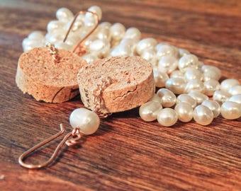 wine cork pearl earrings, eo jewelry, freshwater pearl dangle earrings, essential oil earrings, wine cork earrings