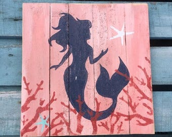 Mermaid Pallet Art, Reclaimed wood art, Mermaid art, fence art, Coastal patio art, Coastal Decor