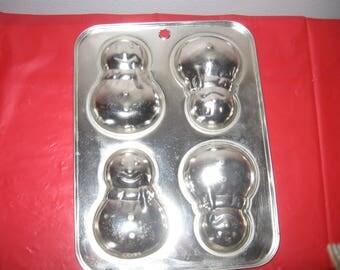 Aluminum Snowman Candy Mold - Vintage Snowman Mold - Vintage Mold For Snowman