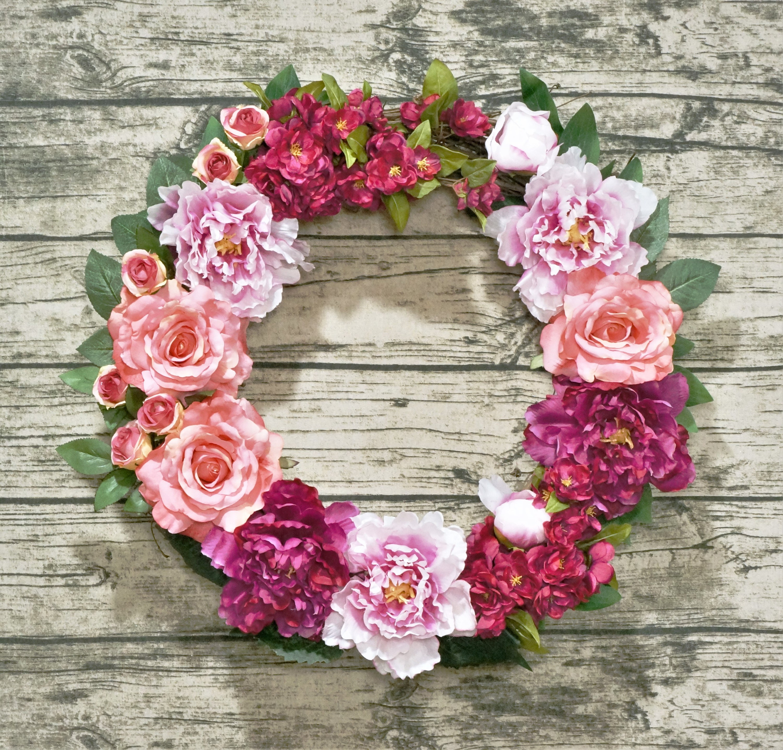 Summer front door wreaths - Fuchsia Wreath Spring Summer Front Door Wreath Cherry Blossom Peony And Rose Wreath