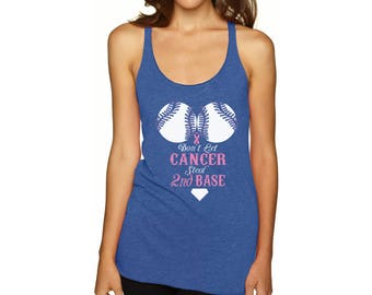 Don't Let Cancer Steal Second Base Racerback Tank Tops Graphic Breast Cancer Awareness Tank Top for Workout