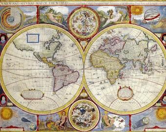 Old world map etsy vintage old world map antique renaissance globe junk journal scrapbook decor printable unique gift art print publicscrutiny Gallery