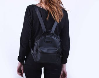 Mini women backpack,Small leather bag,Black women Rucksack,Vegan Backpack women,Small Vegan Backpack,Vintage backpack,Small backpack purse