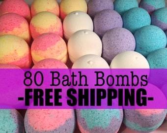 FREE SHIPPING 80 Small Bath Bombs