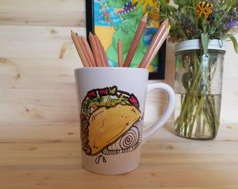 Taco Art/ Taco Coffee Mug/ Taco Mug/ Tacos/ Tacos Art/ Hand Painted Coffee Mug/ Hand Painted Taco Coffee Mug/ Taco Coffee Cup/ Fun Taco Art