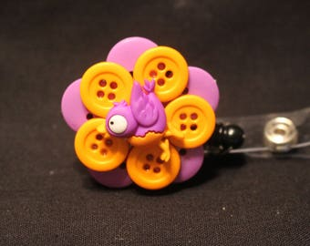 Bright and Cheerful Little Birdie Badge Holder with Alligator Swivel Clip