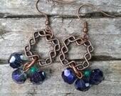 Handmade Dangle earrings-Gift for her-Everyday earrings-Fall jewelry-Artistic Earrings-Hypoallergenic earrings-Purple and Gold Jewelry