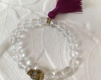 Amplified Skull Quartz crystal stretch bracelet with tassel