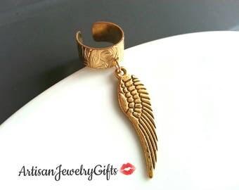 Gold Angel Wing Ear Cuff Gold Wing Ear Cuff Feather Ear Cuff Bohemian Ear Cuff No Piercing Needed To Wear