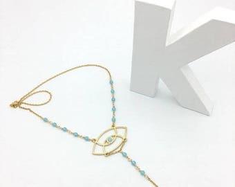 """Light blue Czech beads and golden necklace """"3rd eye"""""""