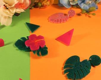 Tropical Hibiscus Flower Brooch - Laser cut acrylic