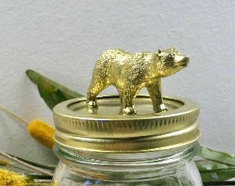Bear Jar, Mason Jar, Bear, Gold Jar