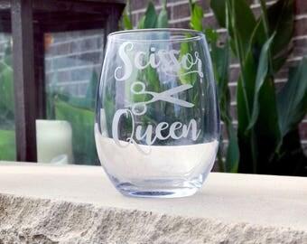 Etched Scissor Queen wine glass/ hairdresser gift/ stylist wine glass/ Hairdresser glass/ stylist gift