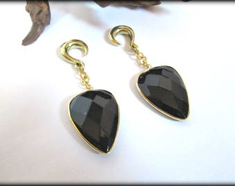 Onyx ear hangers, ear weights,drop ear weights,dangle ear hanger,guage earring