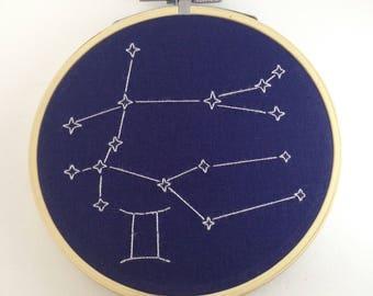 "Gemini 4"" zodiac embroidery"