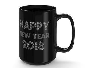 Happy New Year 2018 Black Mug 15Oz
