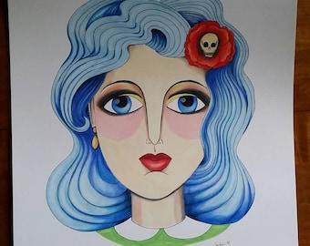 Skull Flower Girl original drawing